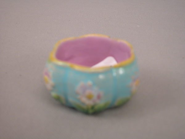 300: Majolica George Jones Floral Salt Cellar