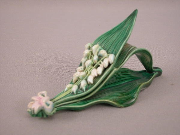 301: Majolica George Jones Lily of Valley Napkin Ring