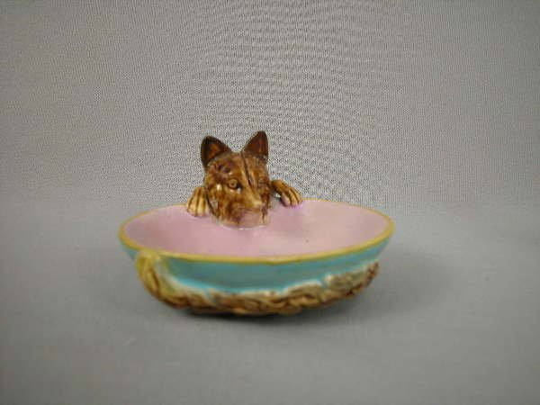 304: Majolica George Jones Fox Figural Ash Tray