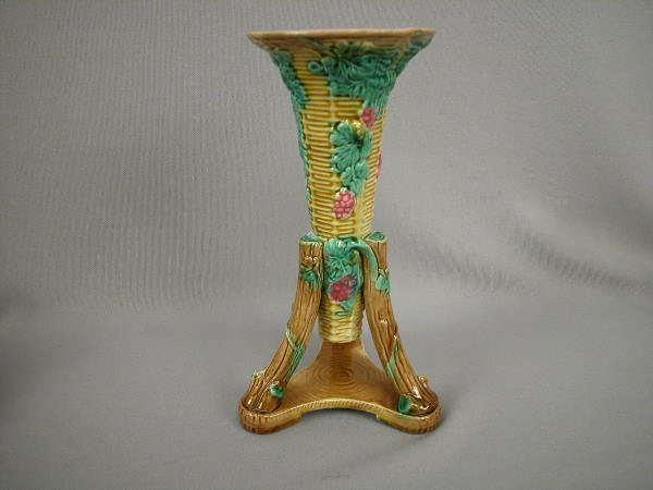 309: Majolica George Jones Trumpet Vase