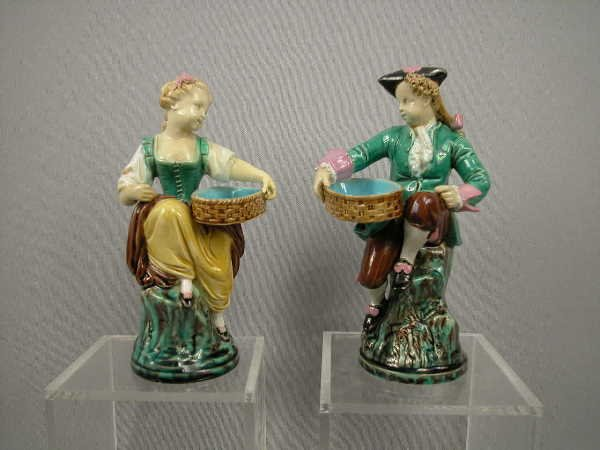 310: Majolica Minton Boy & Girl Figural Match Holders