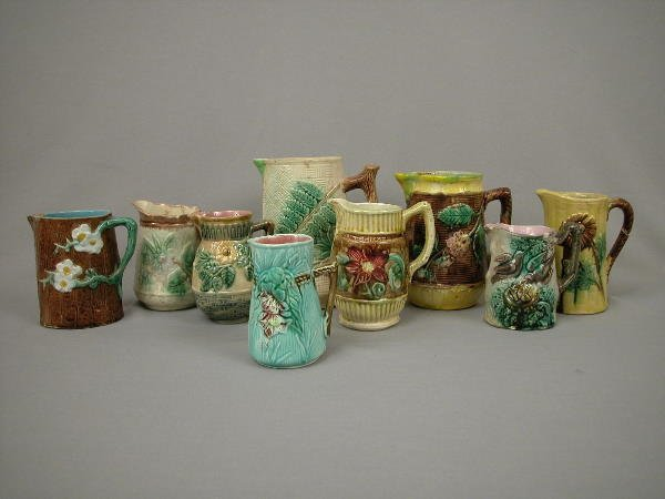 2: Majolica Lot of Pitchers & Creamers