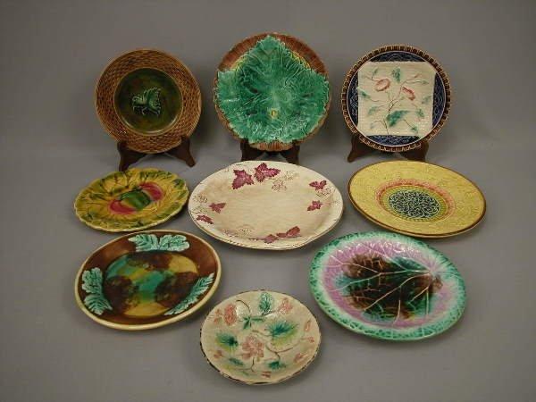 4: Majolica Lot of 9 Plates