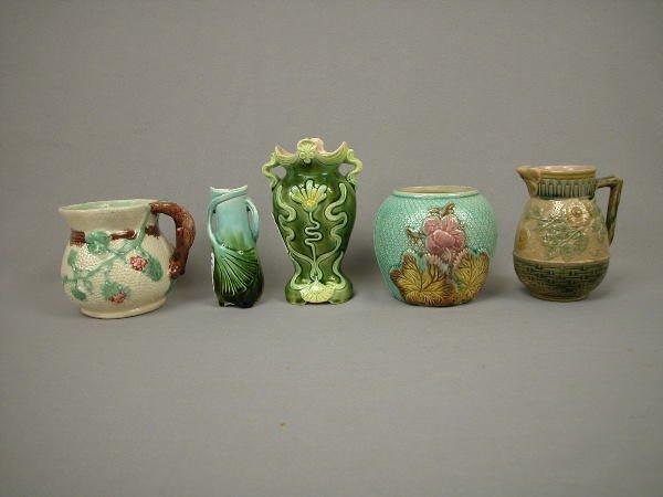 10: Majolica Lot Creamers, Sugar, Vases
