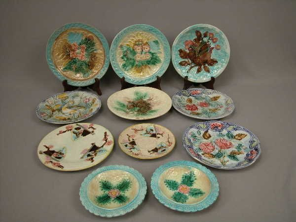15: Majolica Lot of Plates & Sauce Dishes