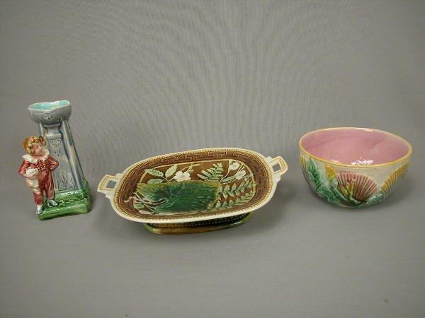 20: Majolica Waste Bowl, Comport, Vase