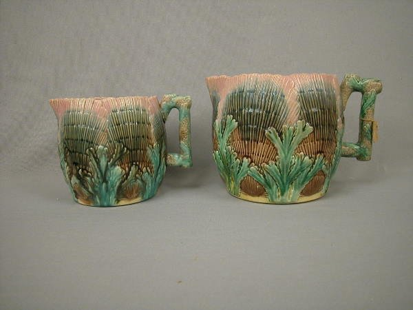 23: Majolica Etruscan Shell & Seaweed Pitchers