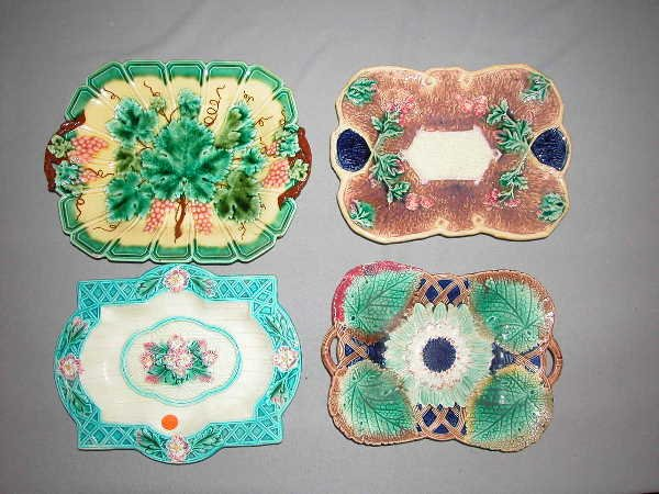 347: Majolica Lot of 4 Platters