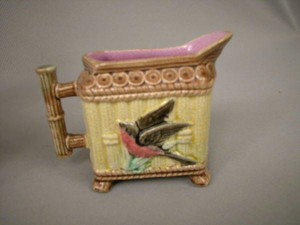 403: Majolica Bird & Bamboo Creamer