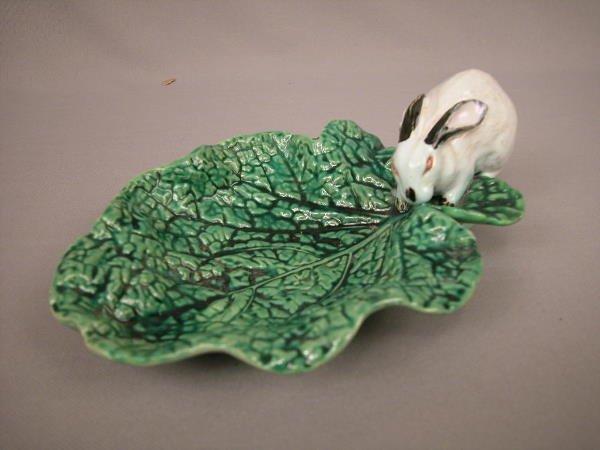 414: Majolica Minton  Tray, Rabbit on Cabbage Leaf