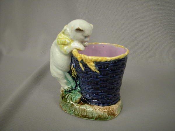 415: Majolica Figural Cat Basket