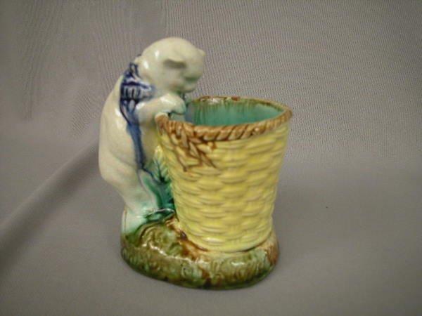 416: Majolica Figural Cat w/ Basket Vase