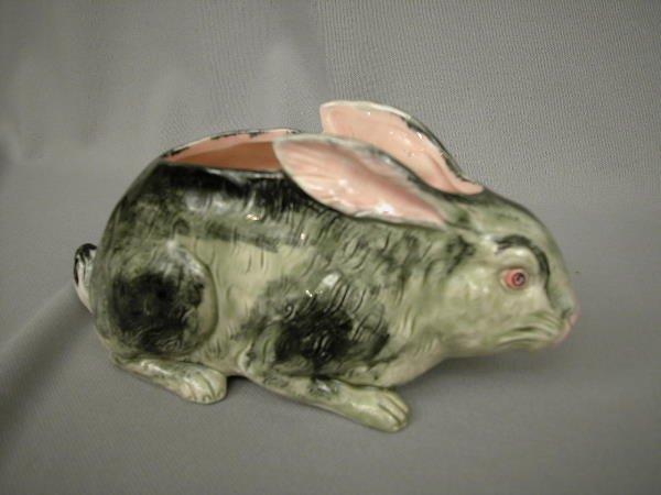 417: Majolica French Figural Rabbit Flower Holder