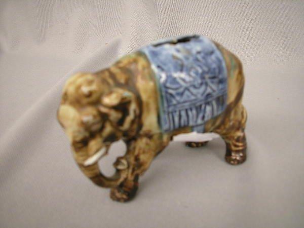 419: Majolica Figural Elephant bank