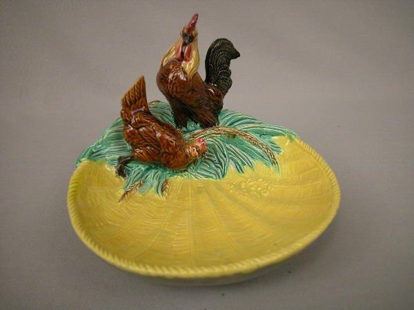 423: Majolica T.C. Brown Rooster & Hen Figural Server