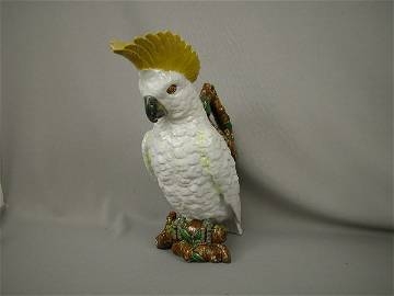 502: Majolica Brownfield Cockatoo Figural Pitcher