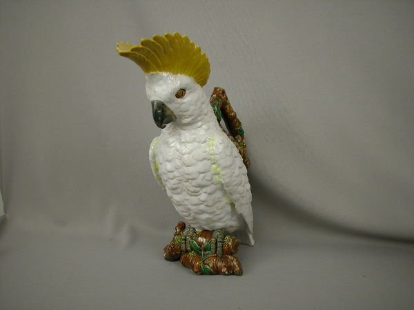 502: Majolica Brownfield Cockatoo Figural Pitcher
