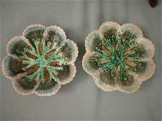 617 Majolica Etruscan Shell  Seaweed Sauce Dishes