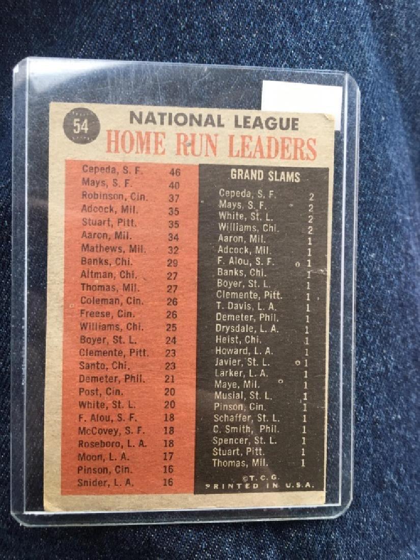1962 TOPPS BASEBALL #54 N.L. HOME RUN LEADERS WILN - 2