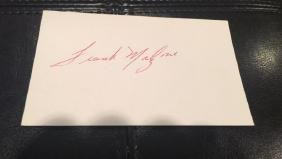 Frank Malzone autographed index card