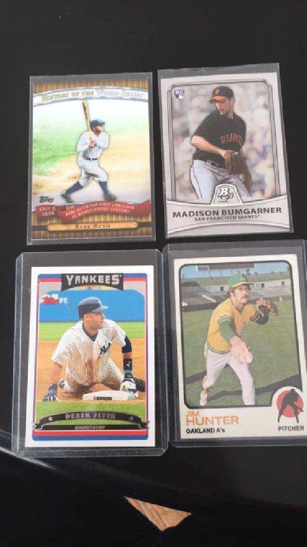4 card baseball card lot Babe Ruth topps history