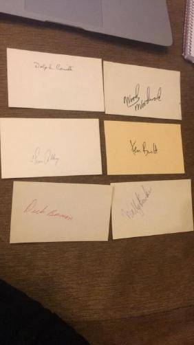 Vintage MLB autograph index cards with former