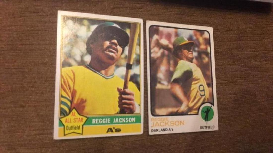 Reggie Jackson 1973 topps in 1976 topps vintage