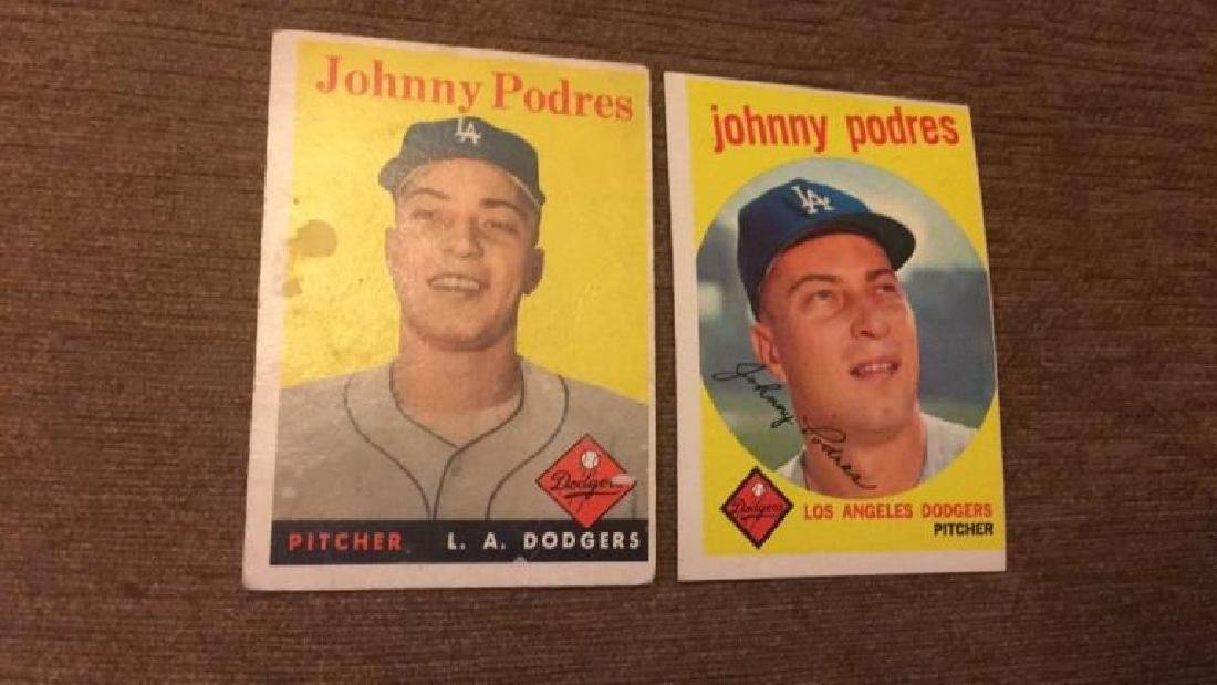 Johnny Podres 1958 and 59 topps vintage baseball