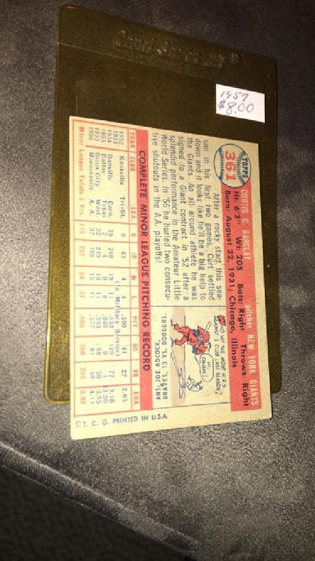 Curt Barclay 1957 topps vintage baseball card - 2