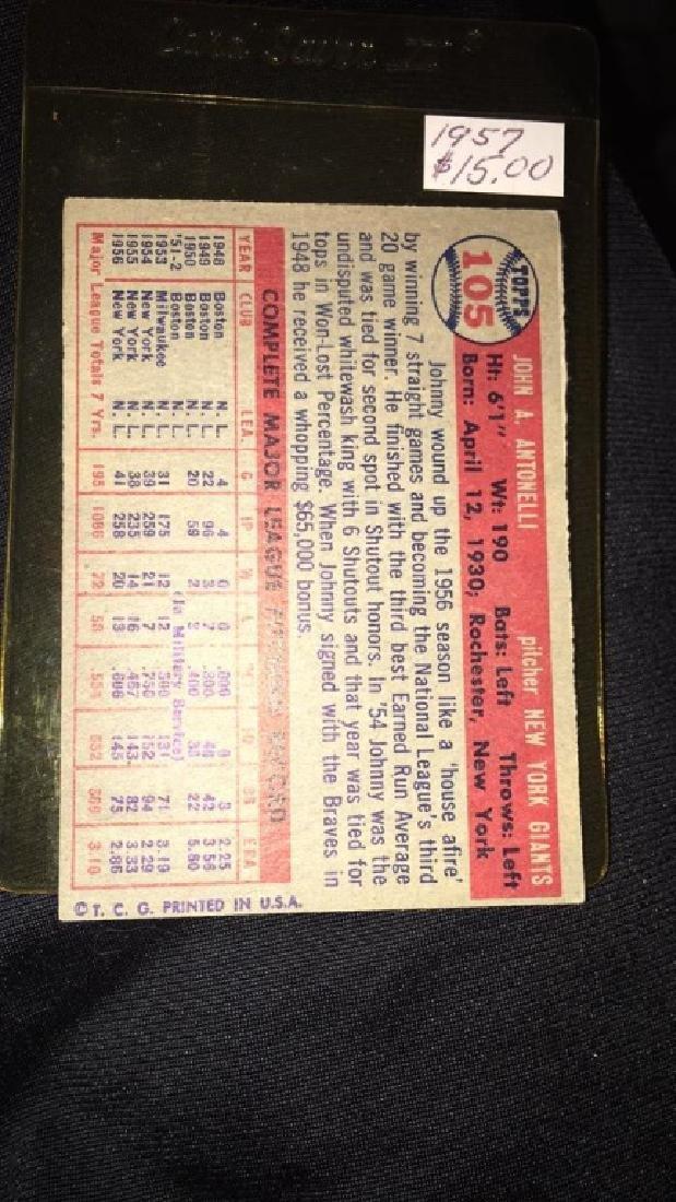 Johnny Antonelli 1957 topps vintage baseball card - 2