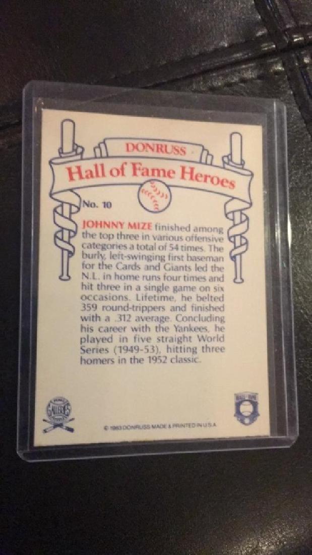 Johnny Mize on card autograph - 2