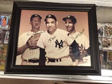 Yogi Berra phil rizzuto and Whitey Ford Triple AuA