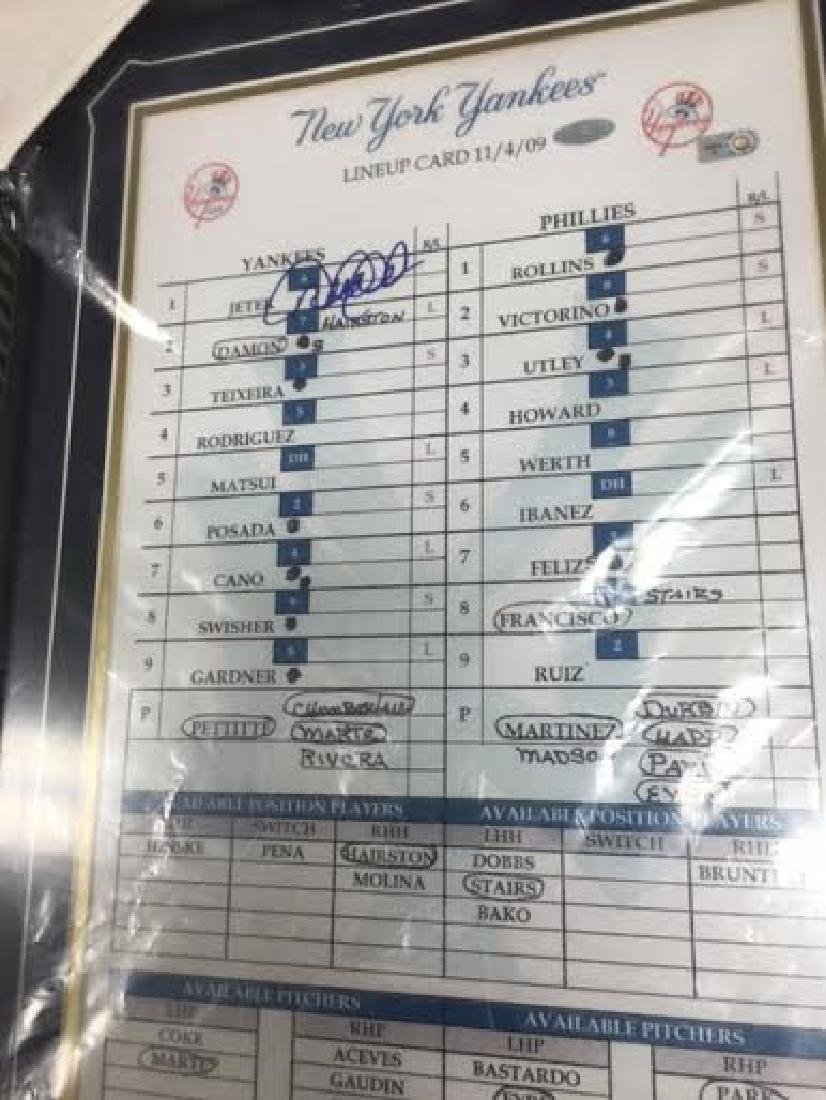 Derek Jeter Signed Framed Scorecard autograph witA - 2