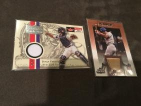Jorge Posada and Steve garvey Jersey and Bat Card