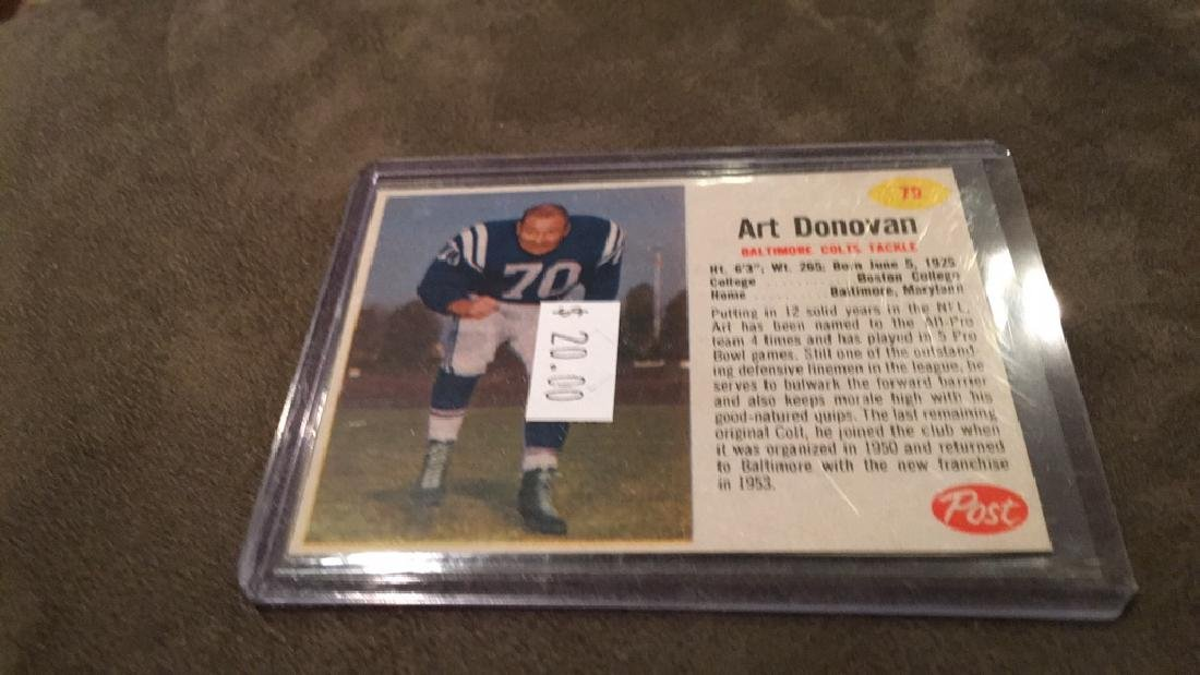 Art Donovan vintage post cereal football card