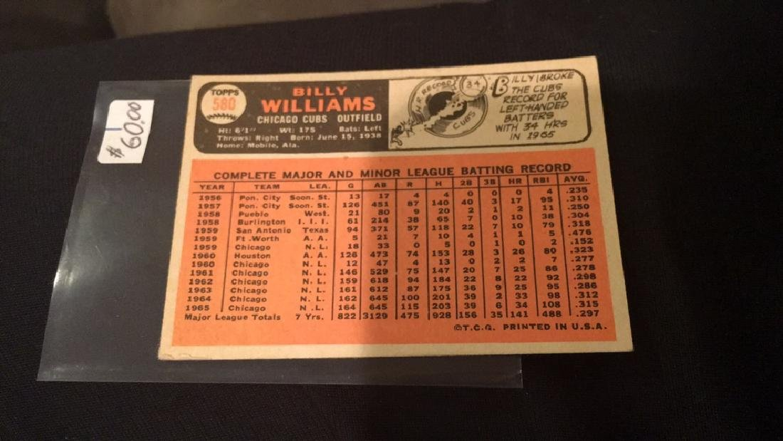 Billy Williams 1966 tops high number number 580 - 3