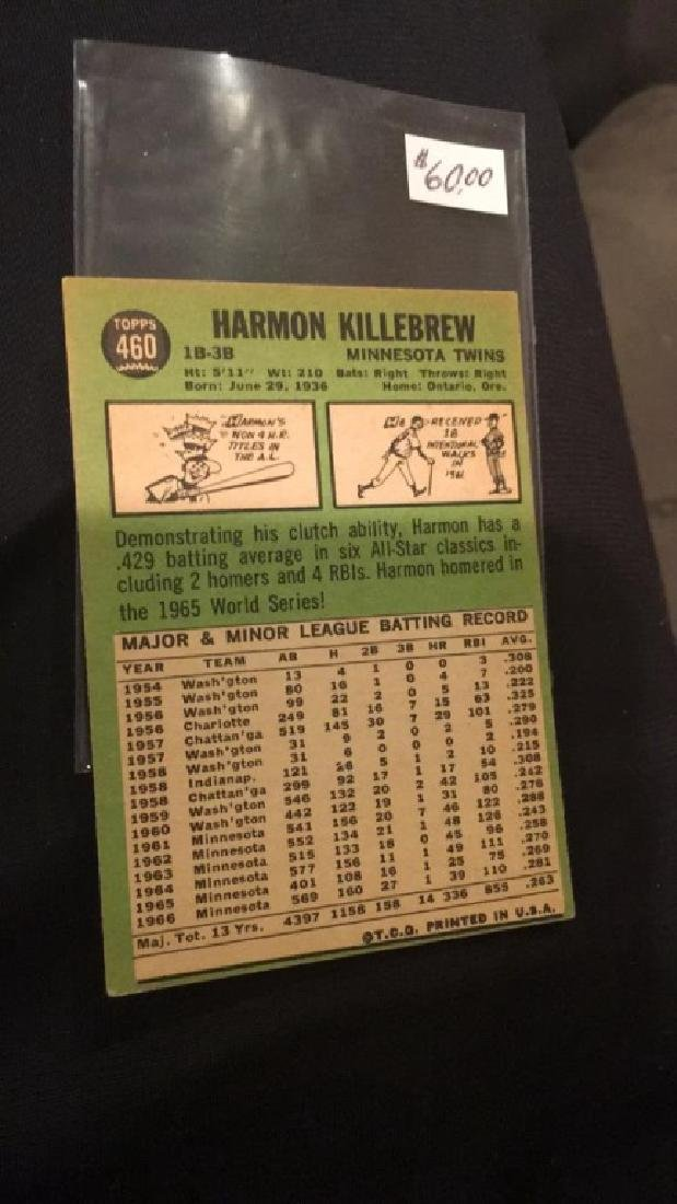 Harmon Killebrew 1967 tops vintage baseball card - 2