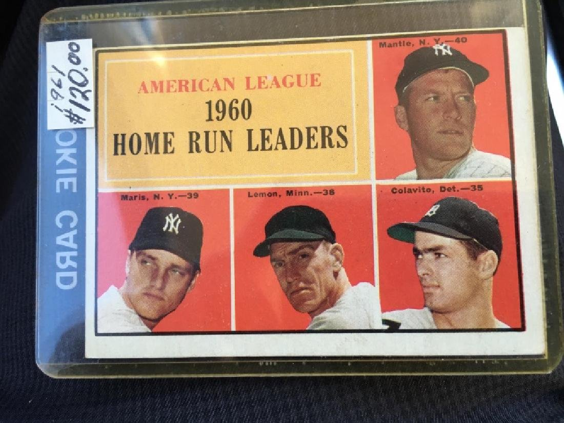 1961 TOPPS MICKEY MANTLE 1960 HOME RUN LEADERS #44