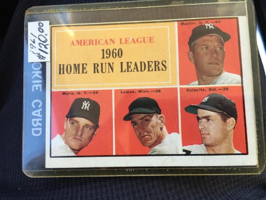 1961 TOPPS MICKEY MANTLE 1960 HOME RUN LEADERS #44 - 2
