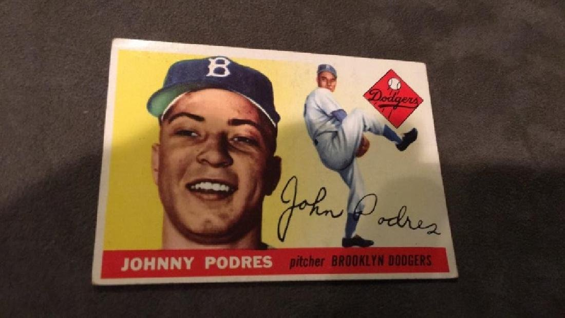 Johnny Podres 1955 tops vintage baseball card