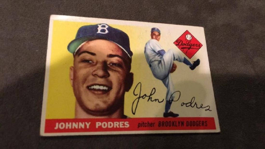 Johnny Podres 1955 tops vintage baseball card - 2