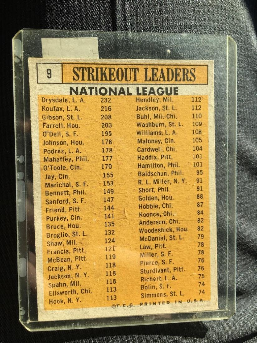 1963 Topps Sandy Koufax Strikeout Leaders - 2