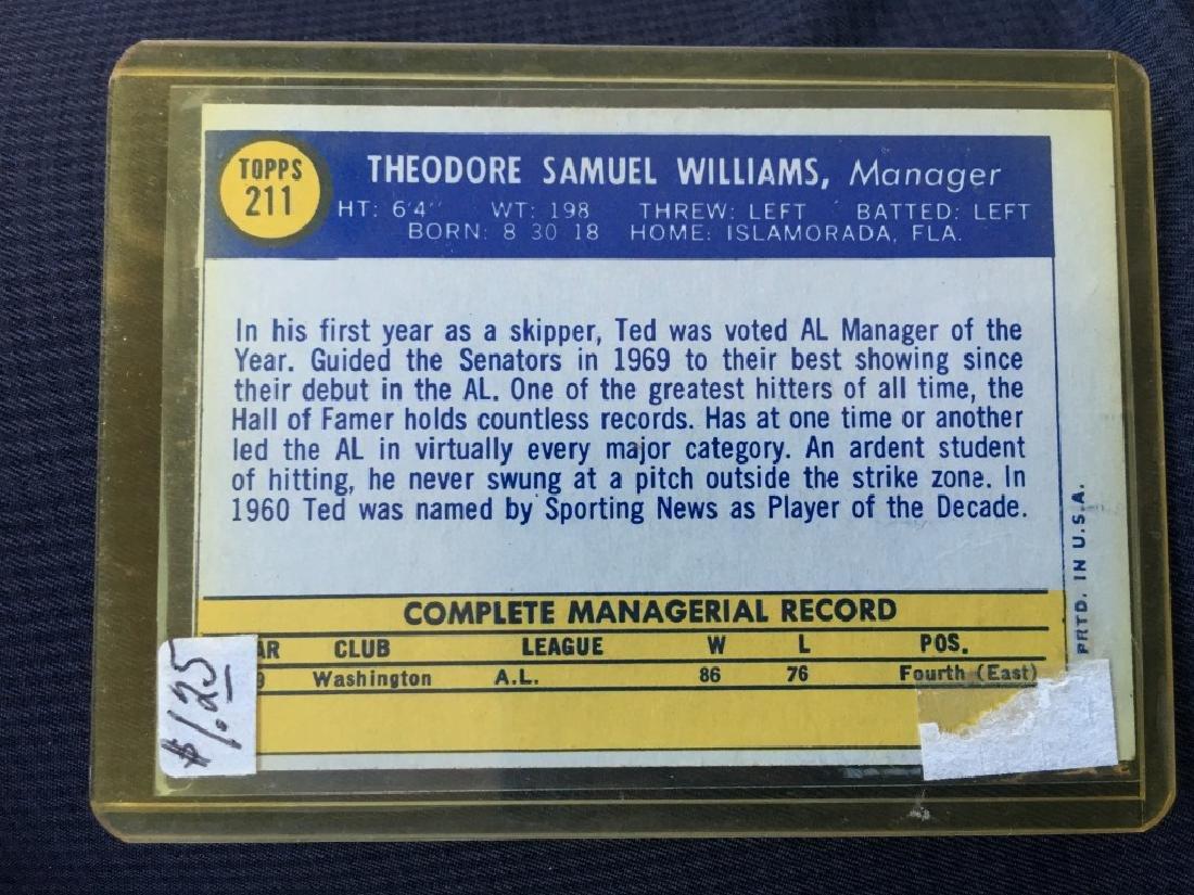 TED WILLIAMS $40+- RED SOX HOF SENATORS MANAGER - 2