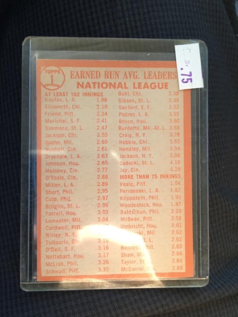 1964 Topps #1 National League ERA leaders Sandy Kx - 3