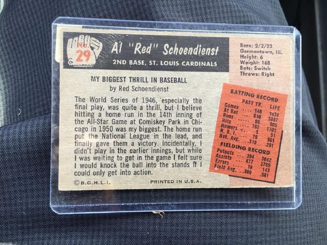 1955 BOWMAN #29 RED SCHOENDIENST ST LOUIS CARDINAS - 2