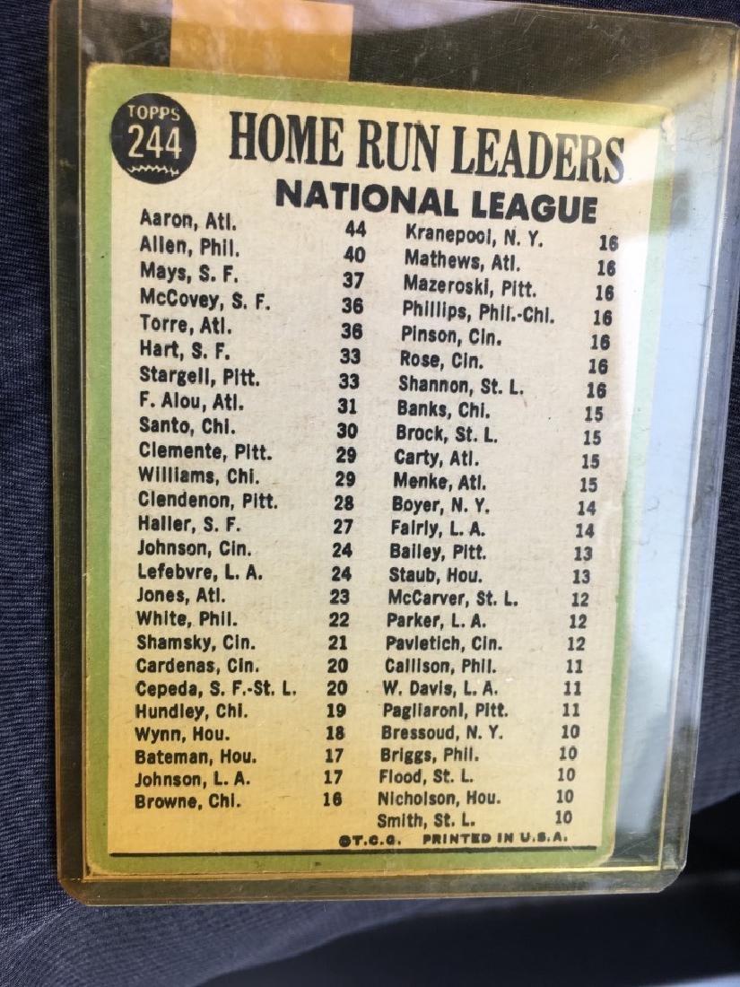 1967 TOPPS #244 N.L. HOME RUN LEADERS AARON MAYS - 2
