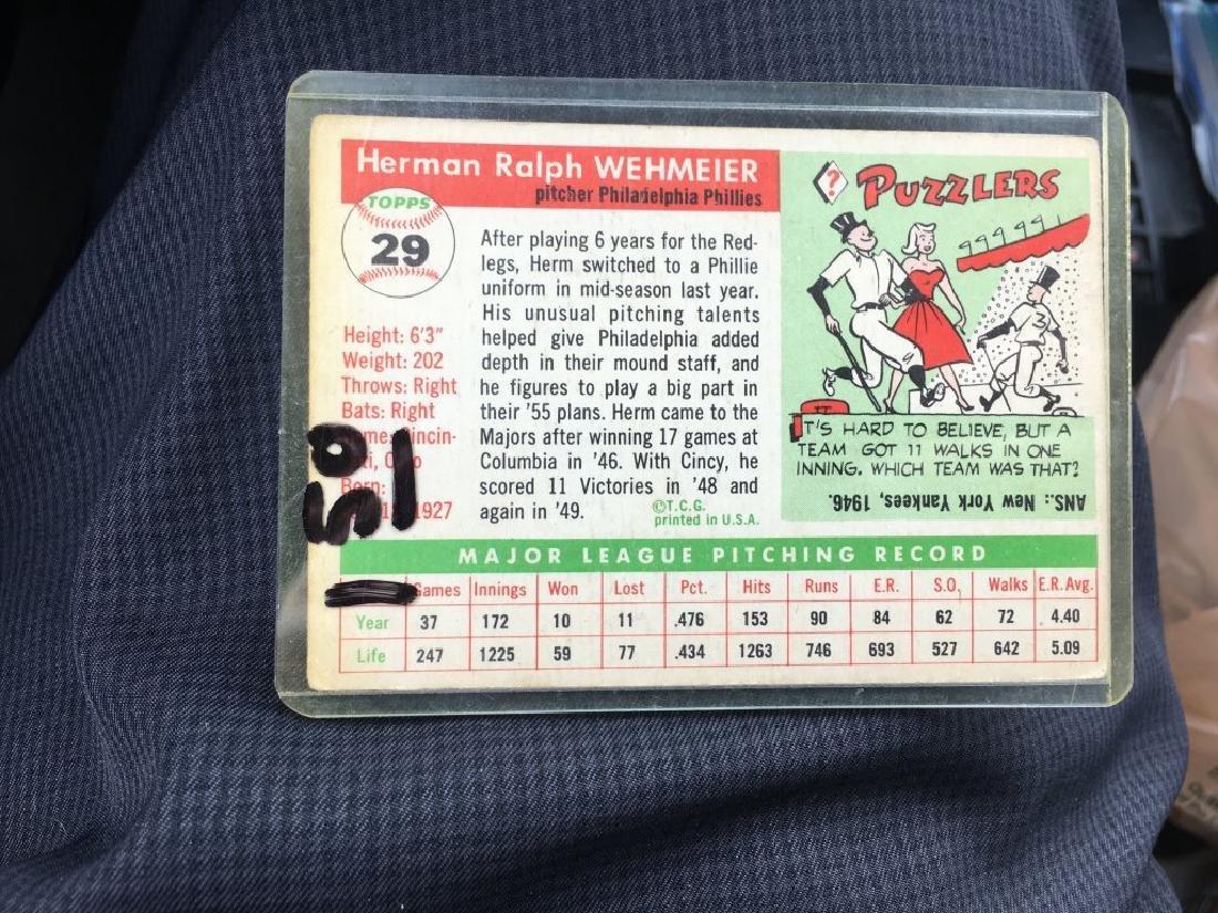 1955 Topps #29 HERMAN WEHMEIER Philadelphia Phills - 2
