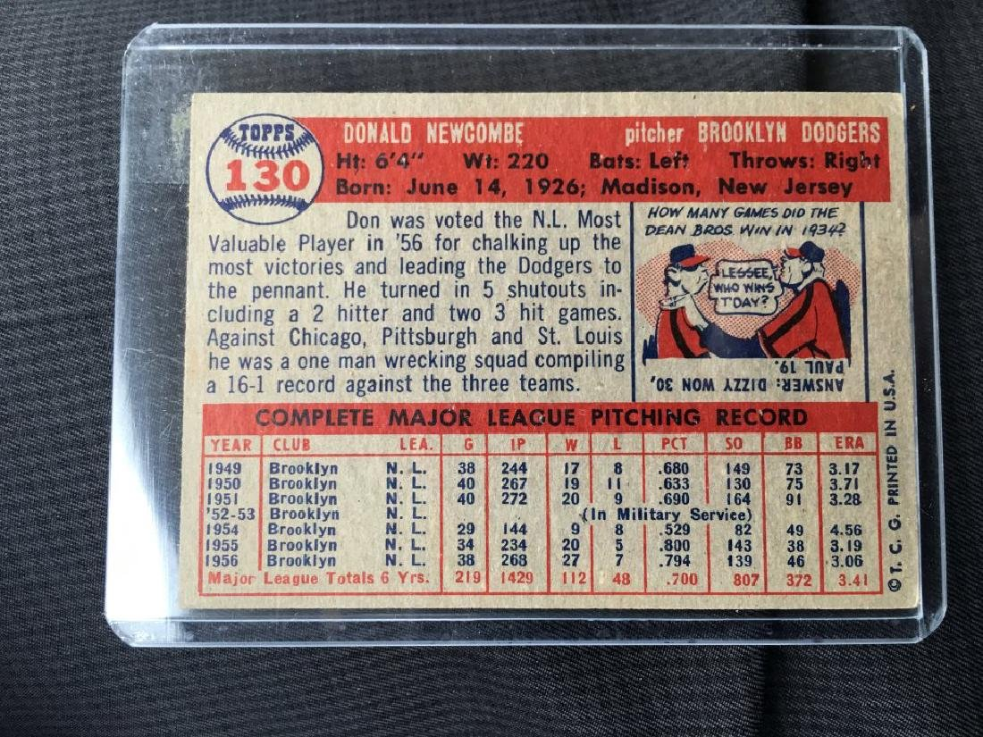 1957 Topps #130 Don Newcombe Dodgers - 2