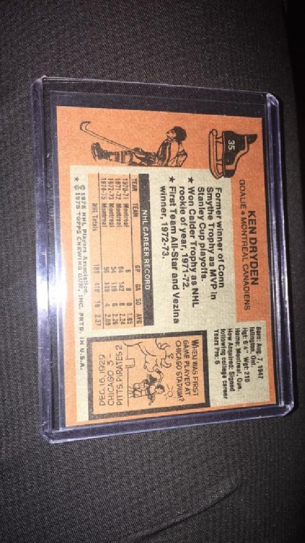 Ken Dryden 1975-76 topps vintage hockey card - 2