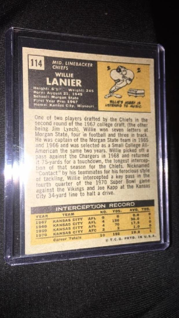 1971 topps football willie lanier(rc)#114 - 3